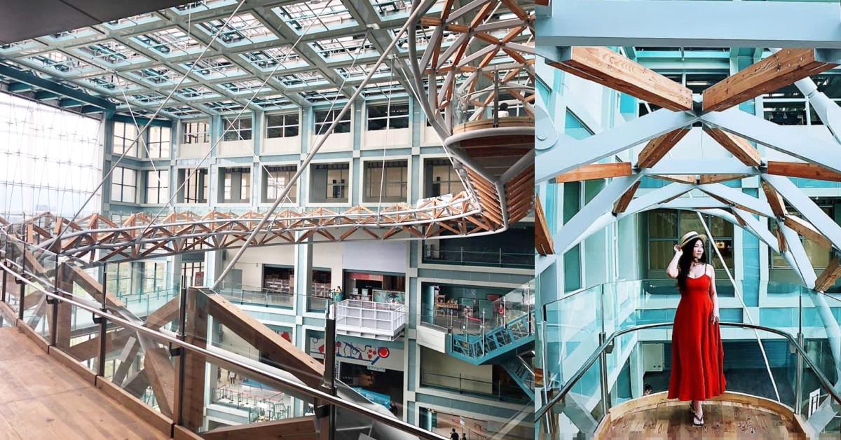 台北也有超美的9層樓「室內天空步道」!還有空中單車等你挑戰