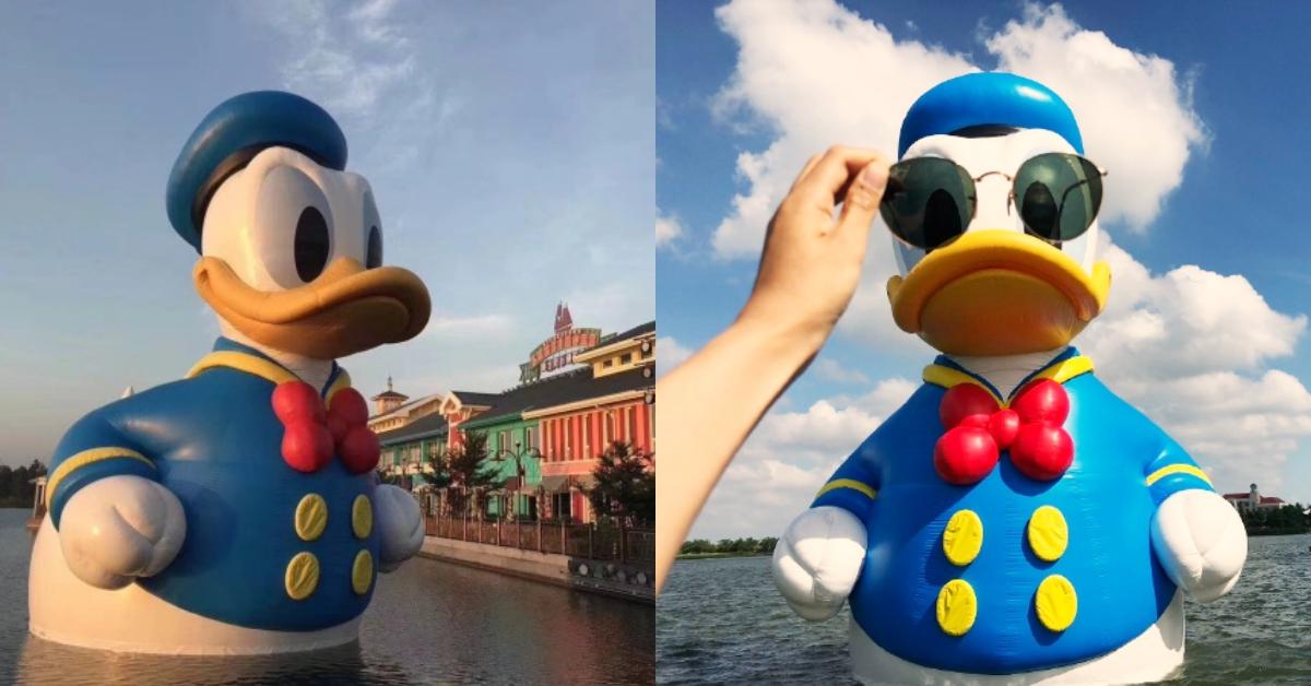 11米巨型生物出現在湖裡!超可愛唐老鴨游進「上海迪士尼」,一起去看它的萌樣吧~