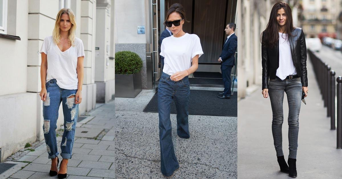 基本款加點小心機就能更時尚,3種白T+牛仔褲的加法穿搭術