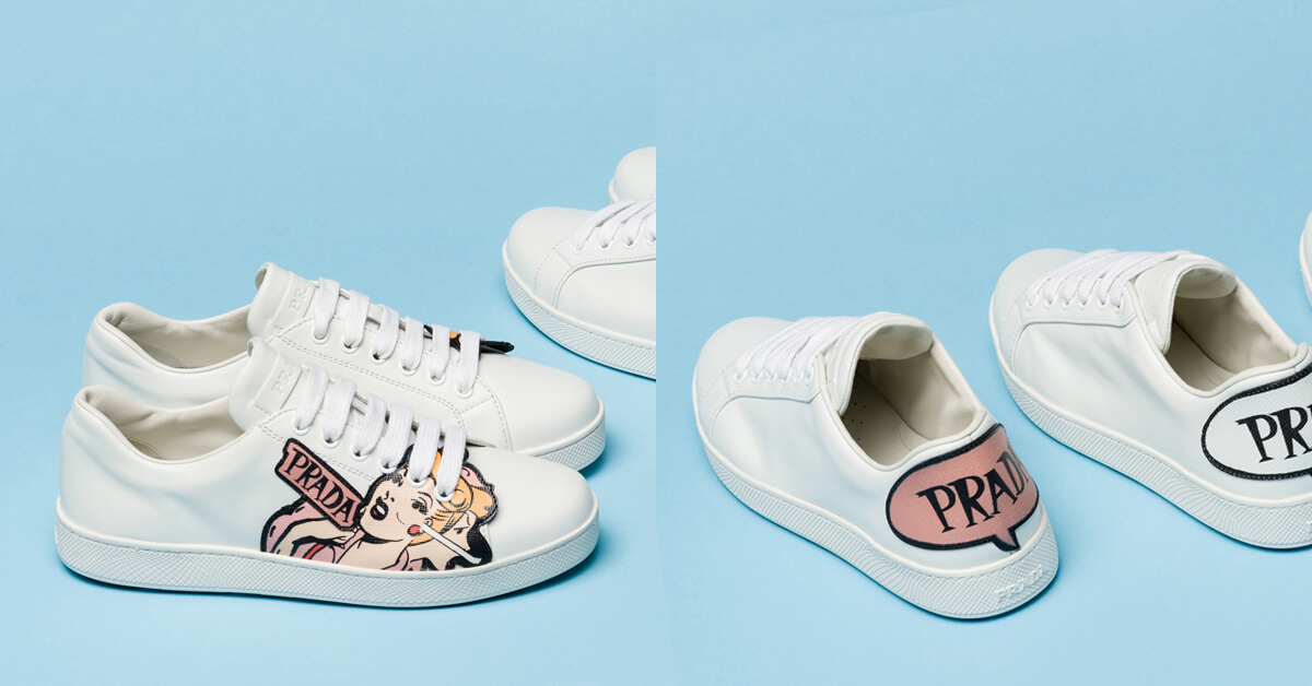 在白球鞋上漫畫!PRADA與《神力女超人》漫畫家TRINA ROBBINS推出全新動漫系列休閒鞋!