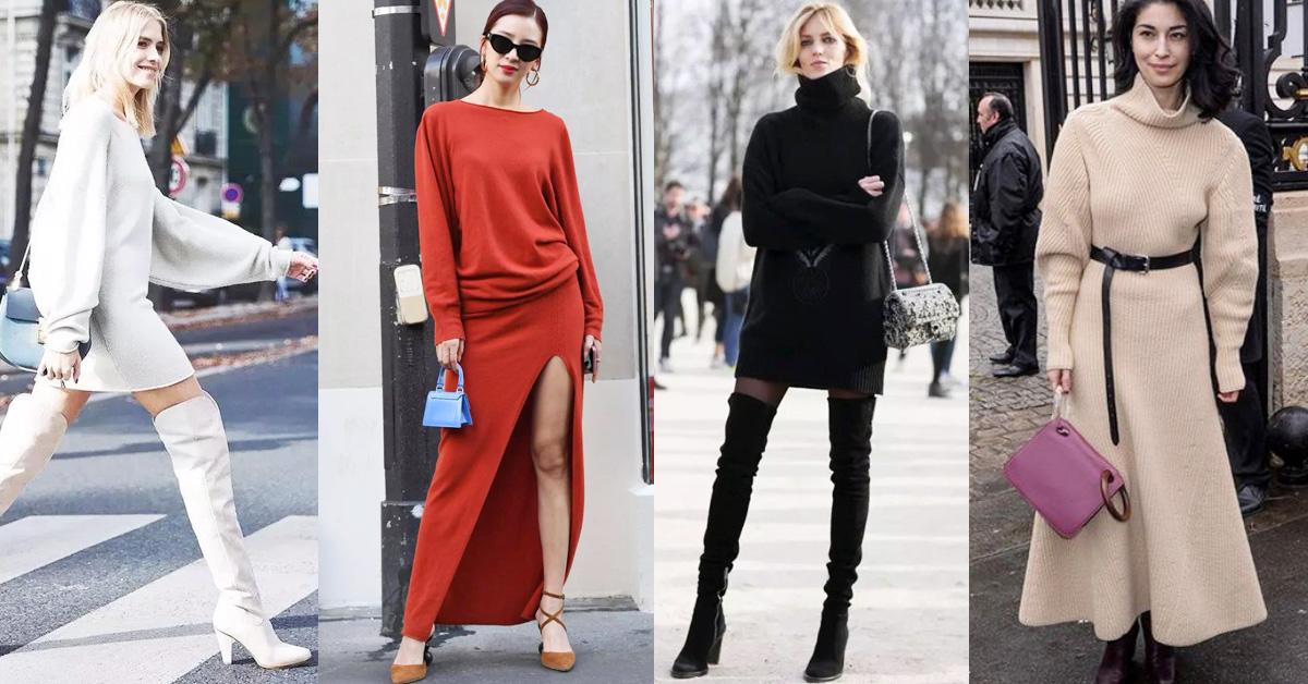 把女人從冬天的臃腫解救出来!就靠一條「毛衣裙」