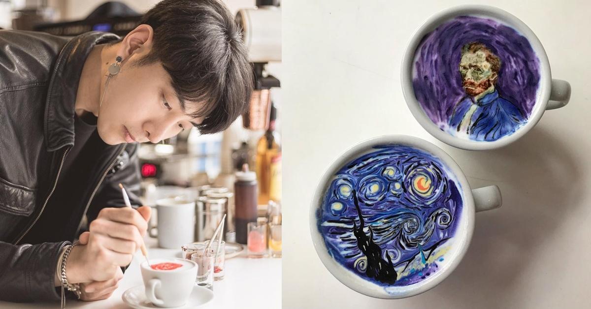 來杯韓國帥哥咖啡師做的咖啡!名畫、卡通都難不倒他