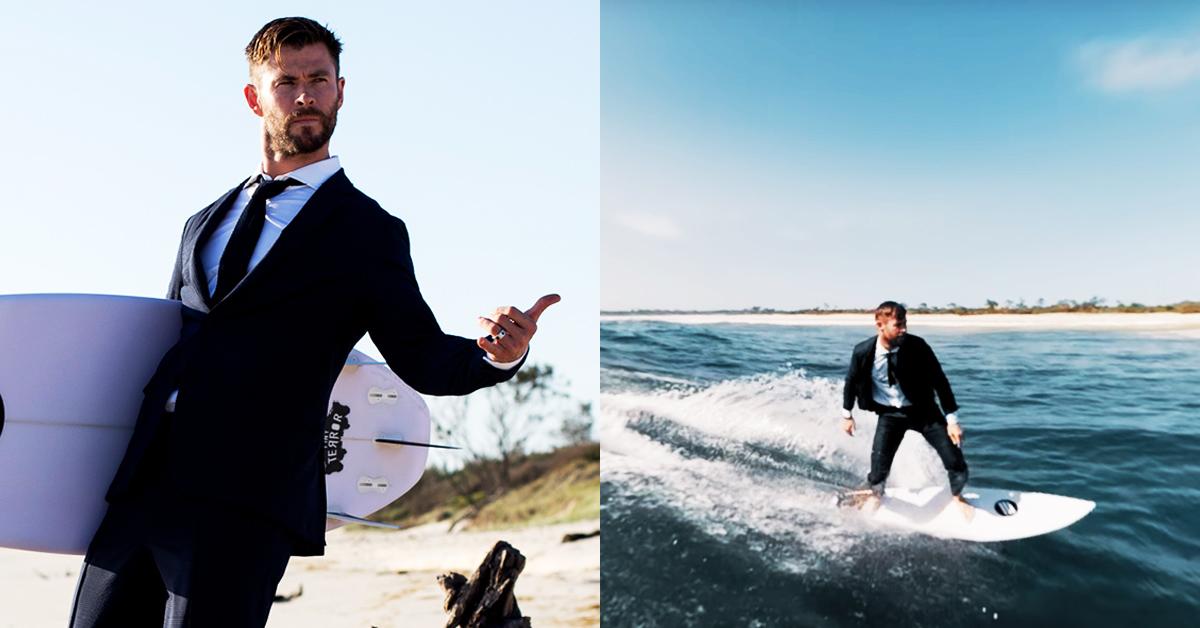 「雷神」克里斯漢斯沃這身Boss西裝能下水!衝浪也不變形,叫西裝控男友買起來