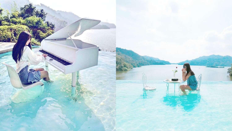 IG新秘境!超狂水中鋼琴、無邊際湖景餐廳隱身苗栗,週末出遊景點必去