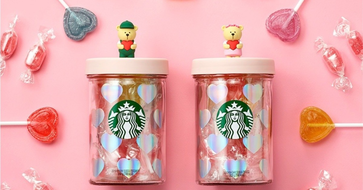 韓國星巴克從不讓人失望!白色情人節推萌度破表「愛心糖果罐」