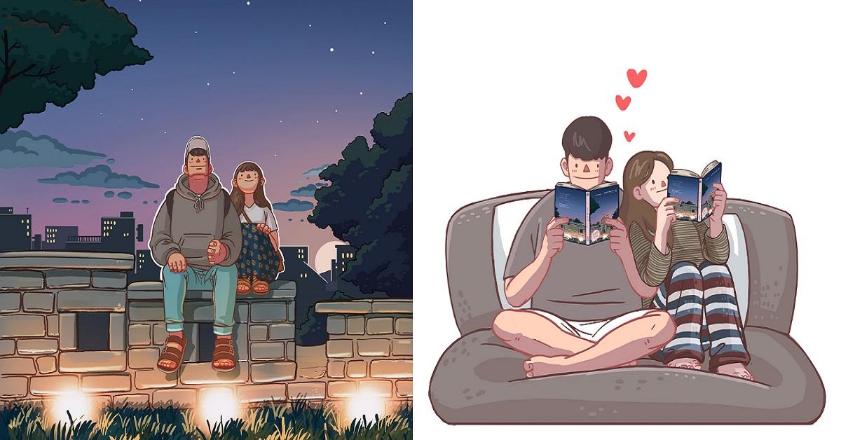 韓國插畫師分享甜蜜情侶日常!每張都像偶像劇情節,看得讓人超想談戀愛