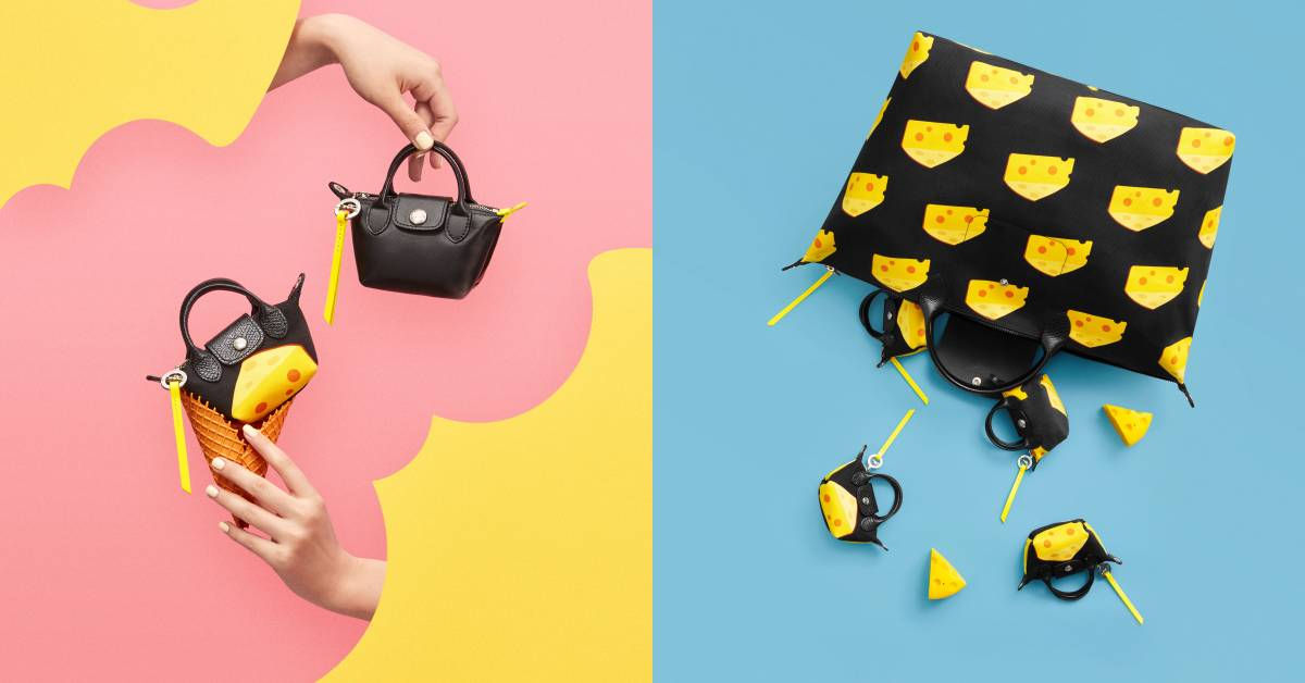 Longchamp經典包爬滿起司!迎接鼠年打造「被老鼠咬一口」的童趣包款