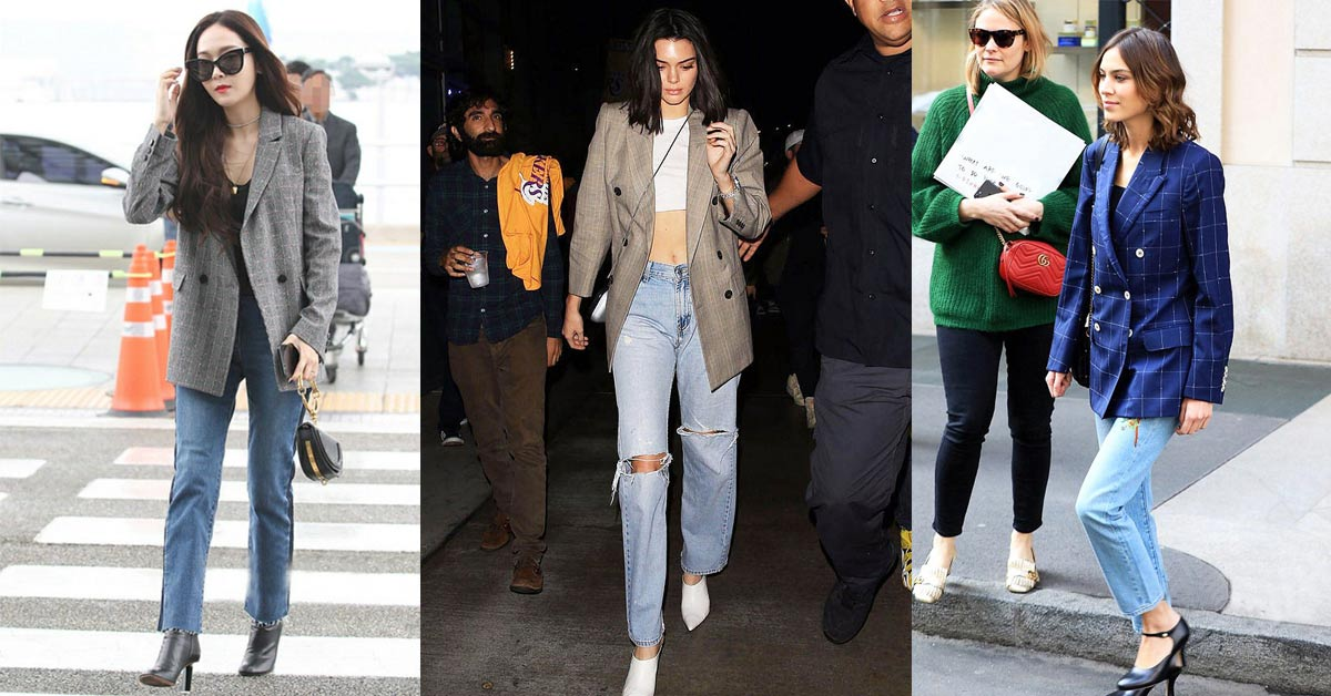 今年春天超模們的指定造型,4套必學的西裝外套X牛仔褲春裝搭配