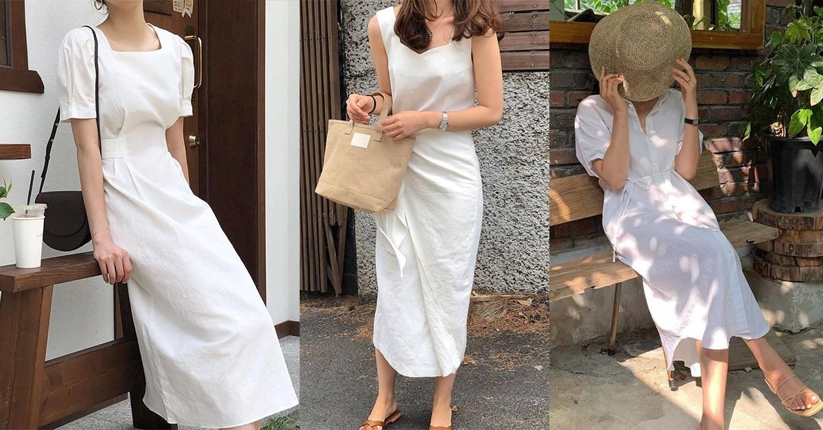 夏天度假必備白色洋裝推薦!排扣、高腰,5招跟著韓妞這樣穿顯白又顯瘦
