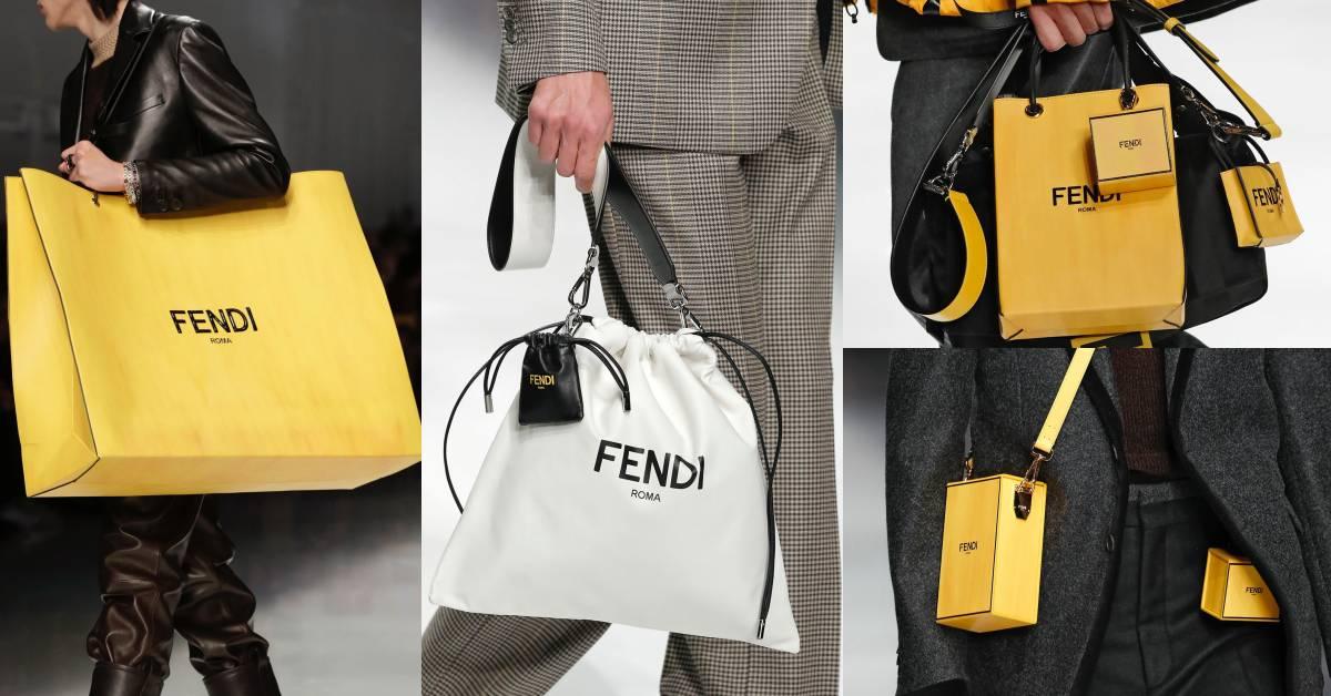 購物紙袋、防塵套、包裝盒全變時髦包款!Fendi的男裝包款連女生都想要