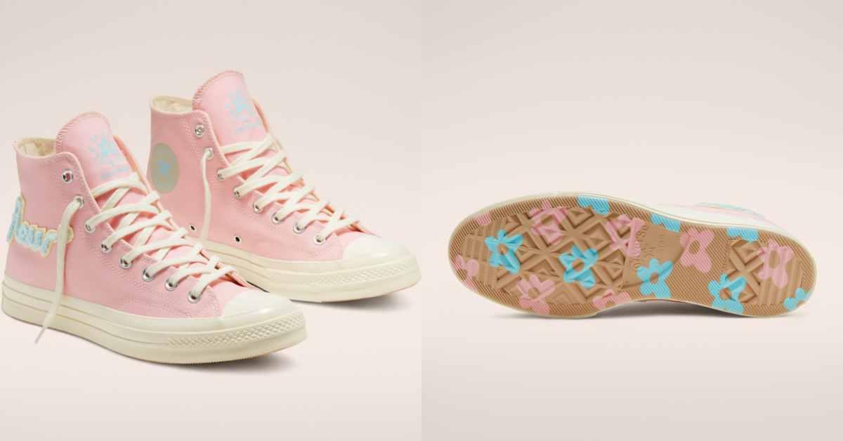 Converse小白鞋已經穿膩了?新的粉色拼接款鞋底佈滿小花,厚底奶茶鞋也超可愛