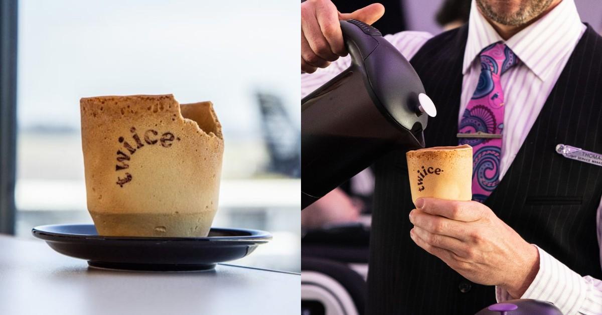 紐西蘭航空首推環保可食用「香草餅乾咖啡杯」!盼一年減少800萬個紙杯垃圾