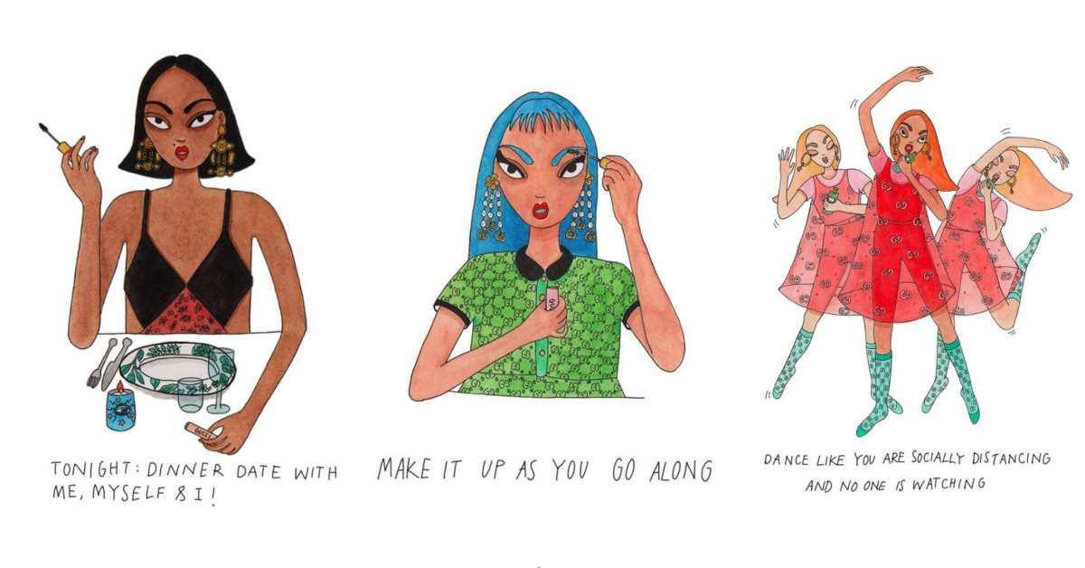防疫在家能幹嘛?Gucci攜手插畫家,用超厭世的5個態度告訴妳自己在家漂亮也很重要!