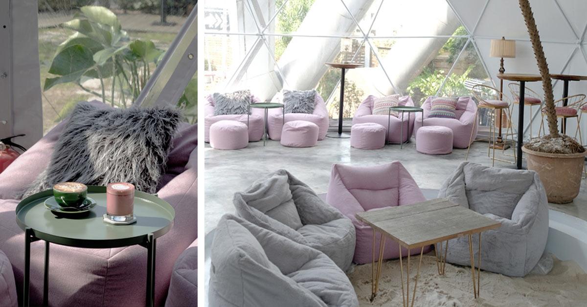 享受陽光下的粉紅慵懶時刻!「台北 Drunk cafe 爛醉咖啡」球型溫室咖啡館美照拍不完!