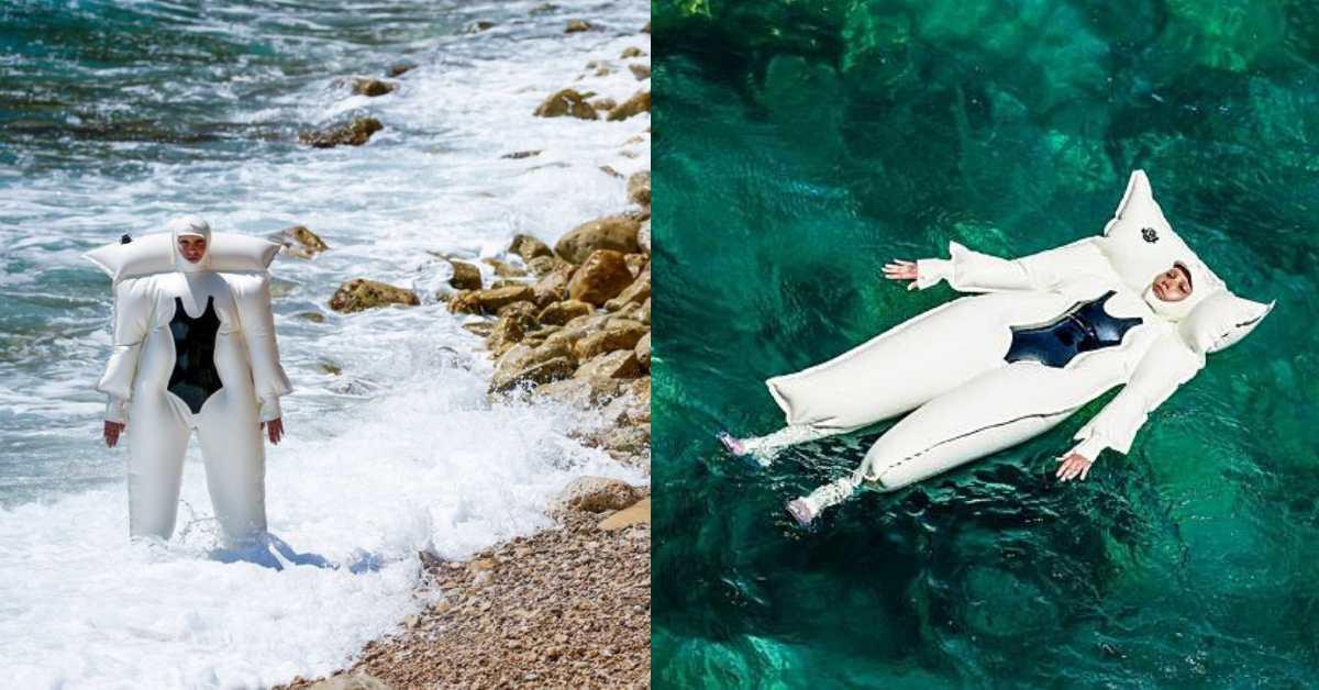 旱鴨子必備!不會游泳就穿上「全身防曬泳圈」,化身人體浮板成為海上焦點