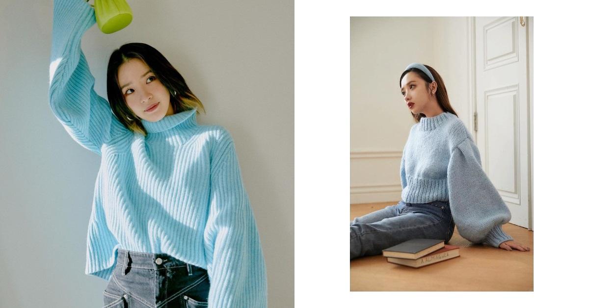 藍色毛衣搭配KOL來教你 !莫莉、Ariel、Irene...從台北到首爾,2021春夏必備單品就是它!