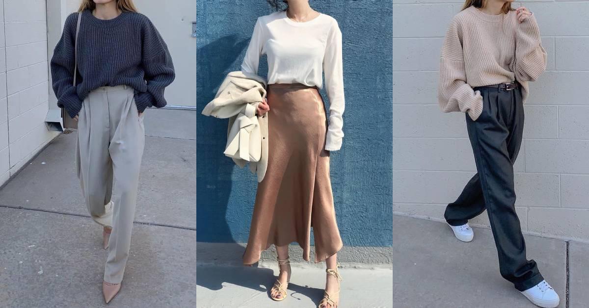 不露臉KOL分享「極簡」懶人上班穿搭,寬褲、長裙完美遮粗腿