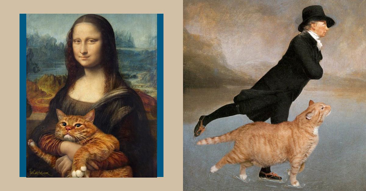 原來蒙娜麗莎也是貓奴?看這隻橘貓如何完美「亂入」名畫中!