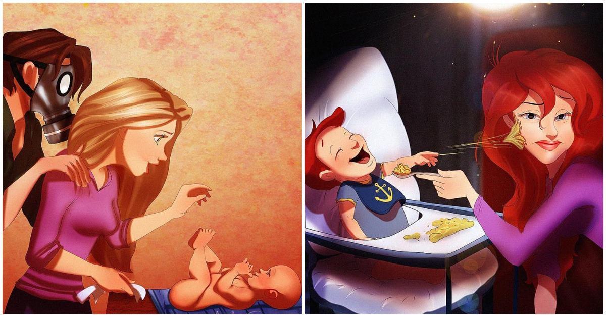 當迪士尼公主全都變成媽!睡美人失眠、貝兒公開哺乳當媽的一定懂
