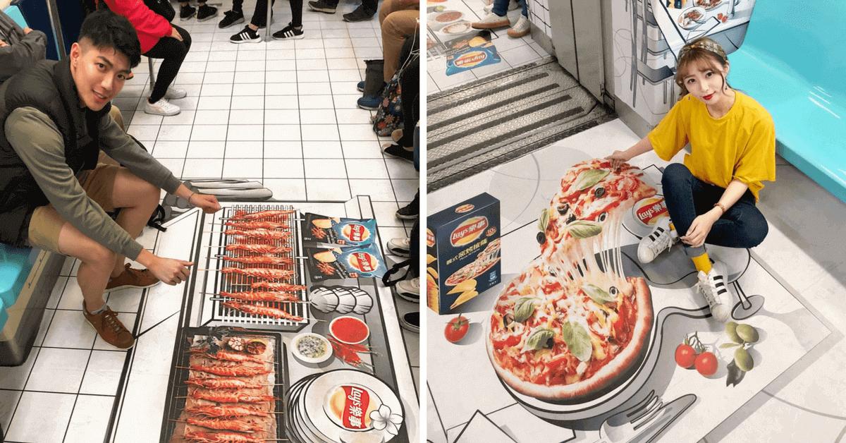 台北捷運真的超精彩!板南線出現美食場景 搭個車也能拍烤肉、吃牽絲披薩的網美照