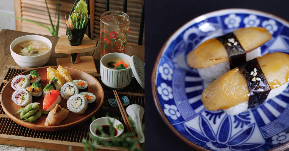台中蔬食推薦「蔬壽司」,純素握壽司跟「葷」的有得拼,軍艦「香芋香菇」肉食控也流口水