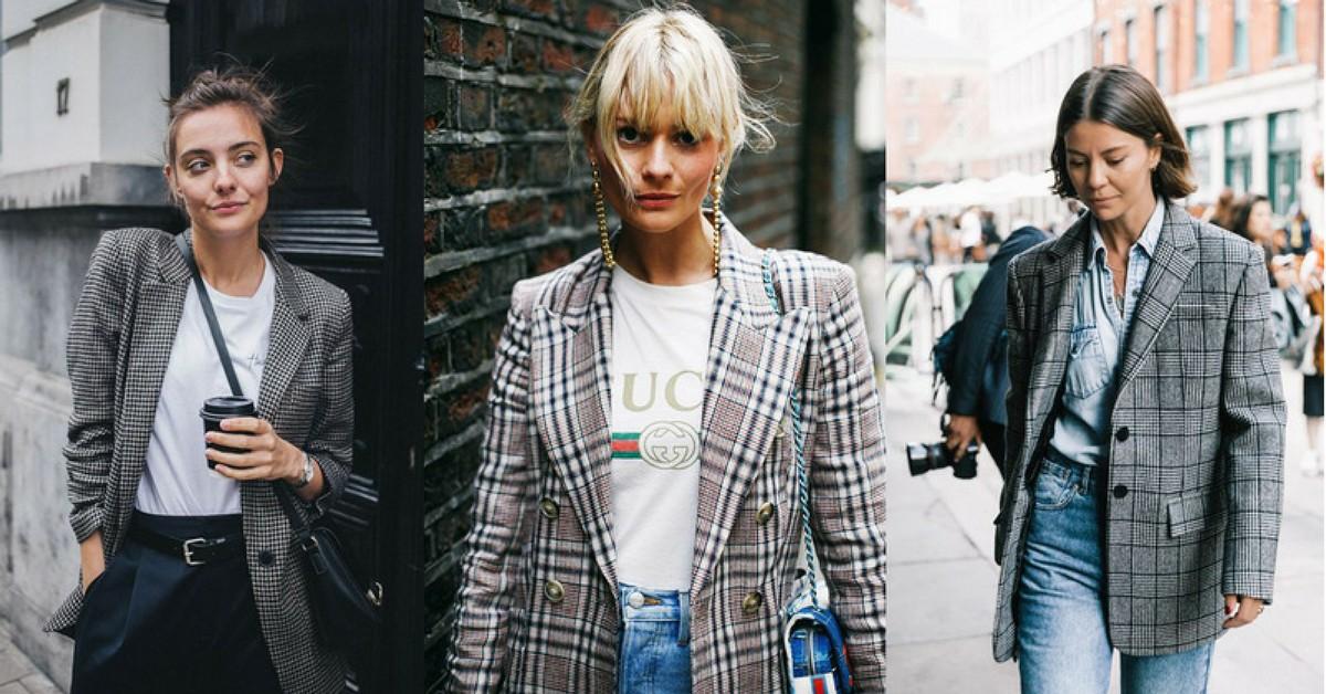 法國女人秋冬必備單品,格紋西裝外套如何穿出法式浪漫