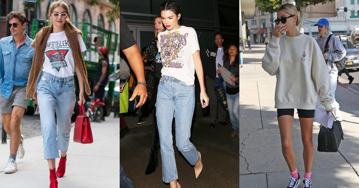 超模Kendall Jenner、小賈老婆Hailey都這樣穿!BM女孩最愛的復古穿搭,一件T恤給你5種不同造型!