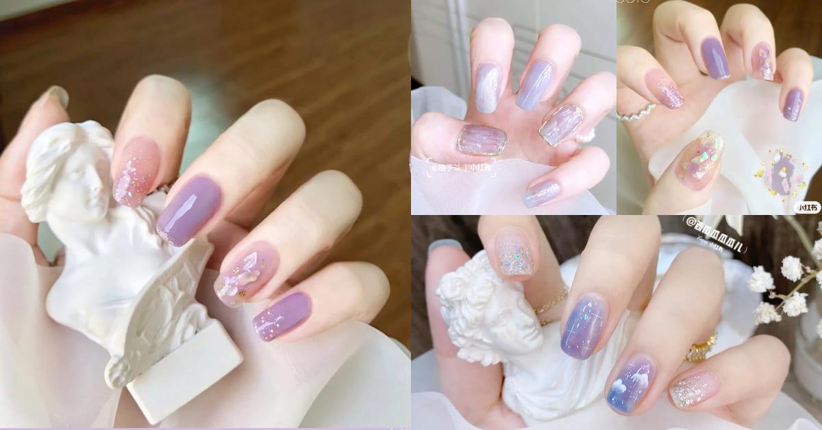 2021秋冬美甲趨勢推薦「冰心紫」!甜美碎冰、優雅金屬...4大造型款式推薦,這款一秒化身仙女手