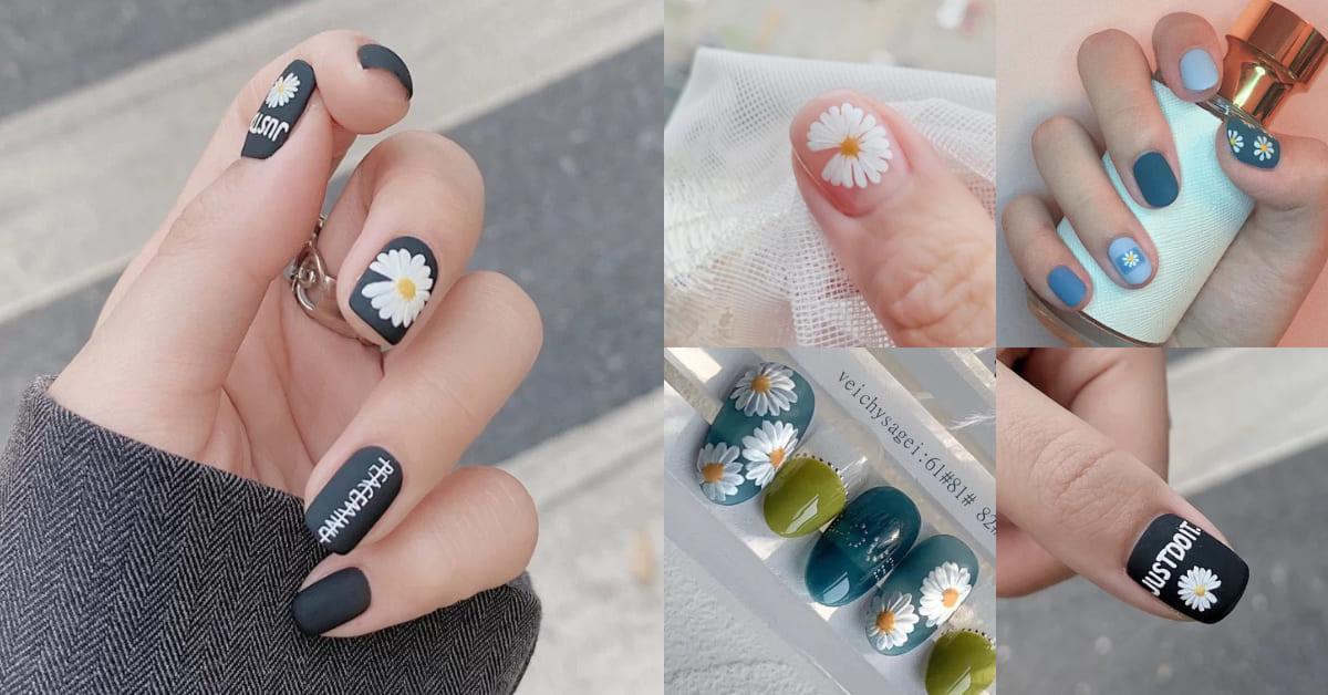 法式、撞色已過時!2020夏季最新光療美甲趨勢「小雛菊」,與男神GD畫上同款指甲!
