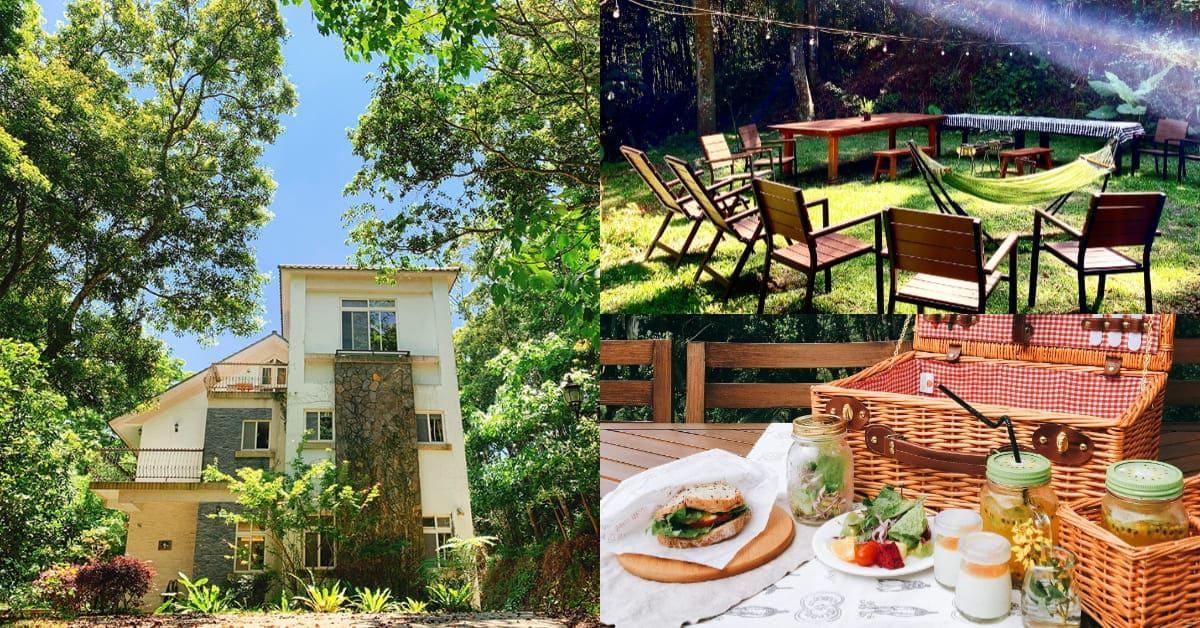 三義民宿推薦「綠波浪」,森林中的純白童話小屋,草皮上野餐、烤肉太享受!