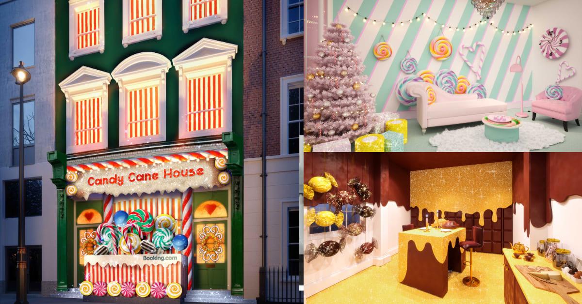 入住糖果屋不是夢!Booking.com推聖誕快閃房型,被拐杖糖、巧克力包圍太甜蜜