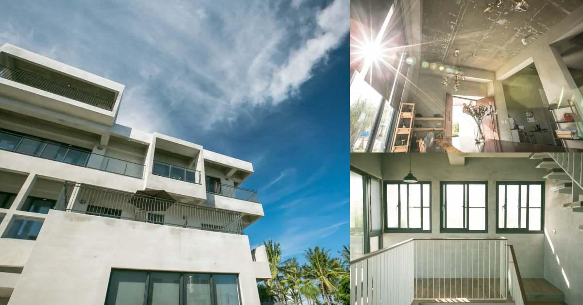 台東民宿推薦「第二道曙光海景」,清水模建築映襯藍天白雲,3分鐘就能走到海灘看流星!