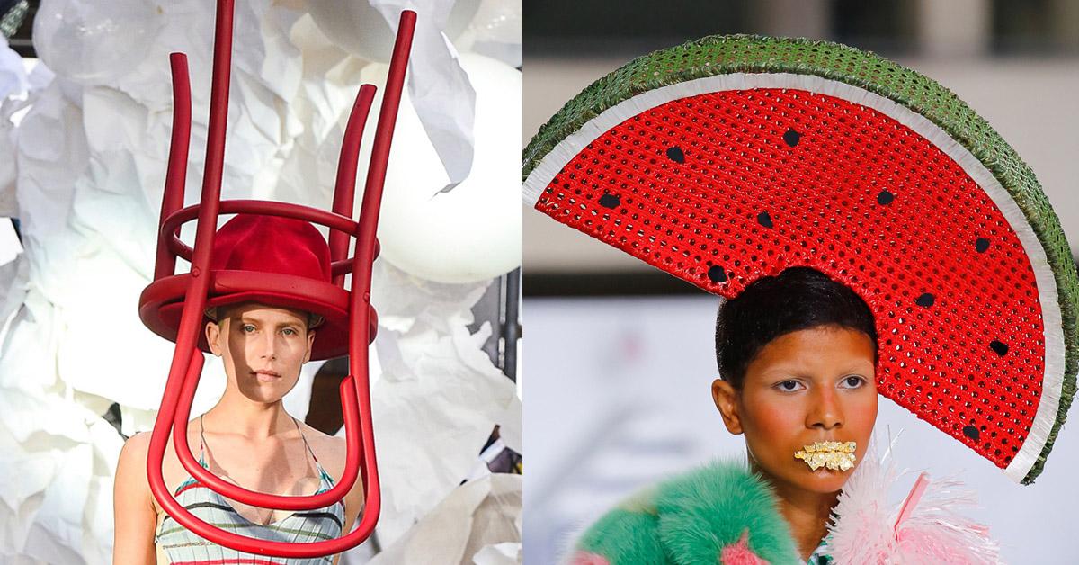 頭戴水果、椅子、棉花糖的頂上風光!盤點2019春夏最獵奇的特殊帽款!
