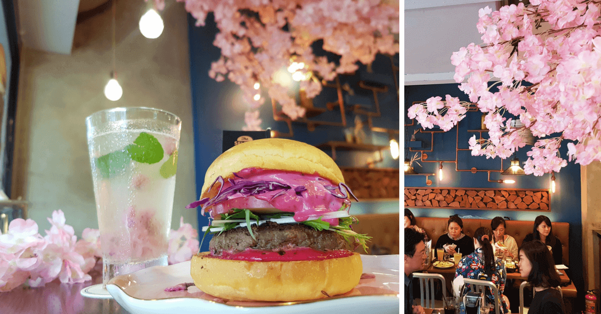 漢堡裡有鹽漬櫻花!「Selfish Burger」櫻花牛堡 粉紅醬與花瓣不管用吃的還是用看的都浪漫!