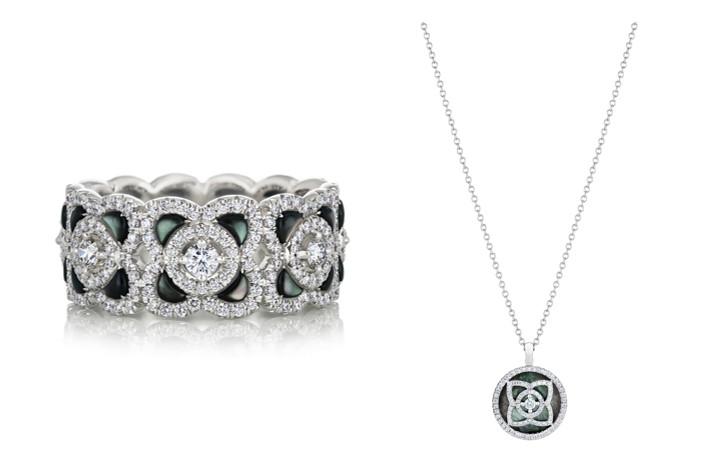 Enchanted Lotus 18K白金灰色珍珠母貝鑽石戒環,NT$ 228,000 / Enchanted Lotus 18K白金灰色珍珠母貝鑽石鍊墜,NT$ 88,000