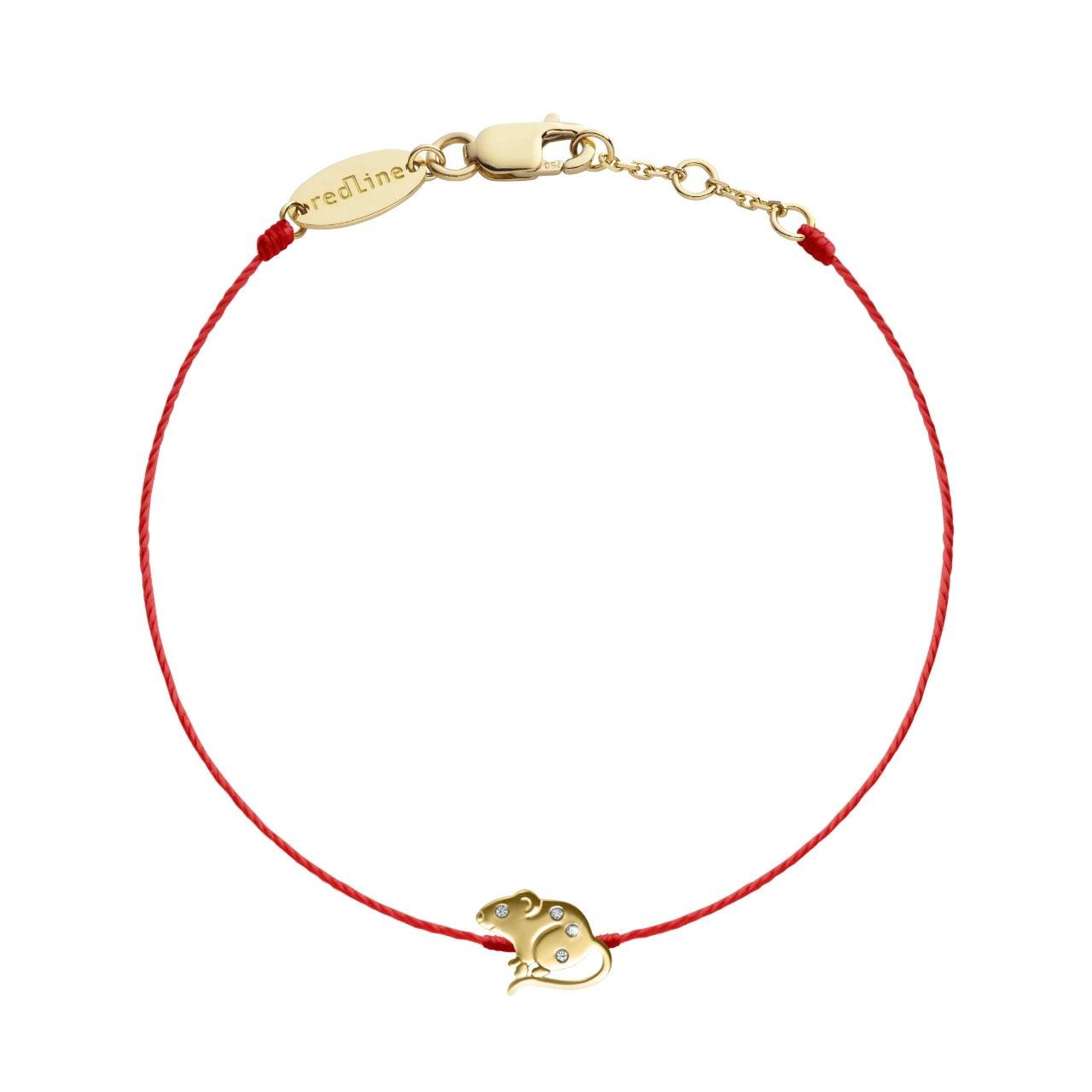 Lucky Mouse鼠來寶(幸運鼠) 黃K金全紅線手繩