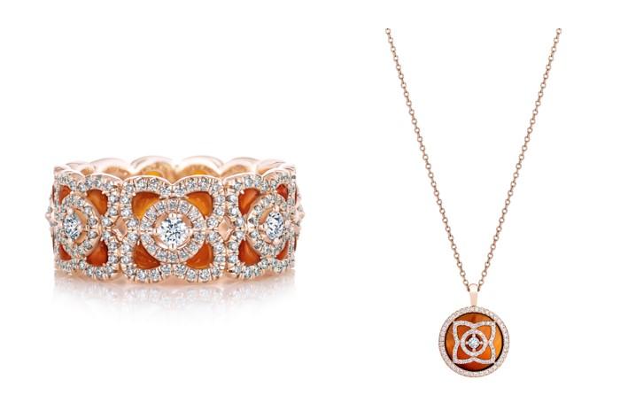 Enchanted Lotus 18K玫瑰金紅玉髓鑽石戒環,NT$ 237,000 /  Enchanted Lotus 18K玫瑰金紅玉髓鑽石鍊墜,NT$ 97,000