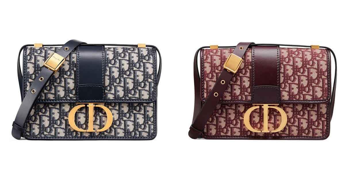 (左)藍色緹花帆布包,NT$ 105,000、(右)酒紅色緹花帆布包,NT$ 105,000。