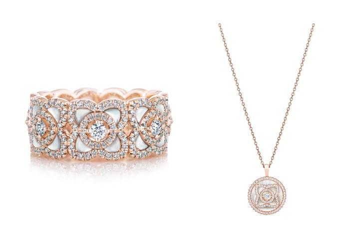Enchanted Lotus 18K玫瑰金白色珍珠母貝鑽石戒環,NT$ 228,000 / Enchanted Lotus 18K玫瑰金珍珠母貝鑽石鍊墜,NT$ 88,000