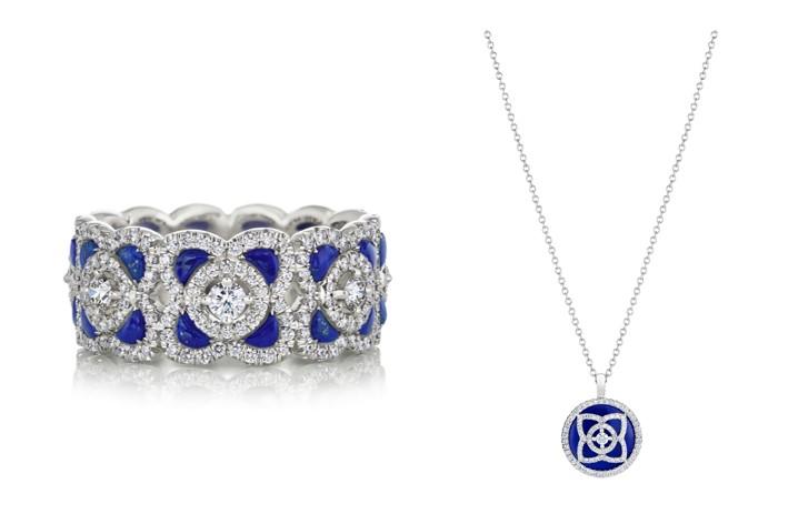 Enchanted Lotus 18K白金青金石鑽石戒環,NT$ 237,000 / Enchanted Lotus 18K白金青金石鑽石鍊墜,NT$ 97,000
