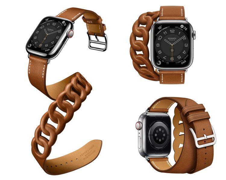 Hermès第七代AppleWatch錶帶登場!亞麻藍、萊姆黃真的美翻,經典「皮革鏈帶」奢華品味再升級-5