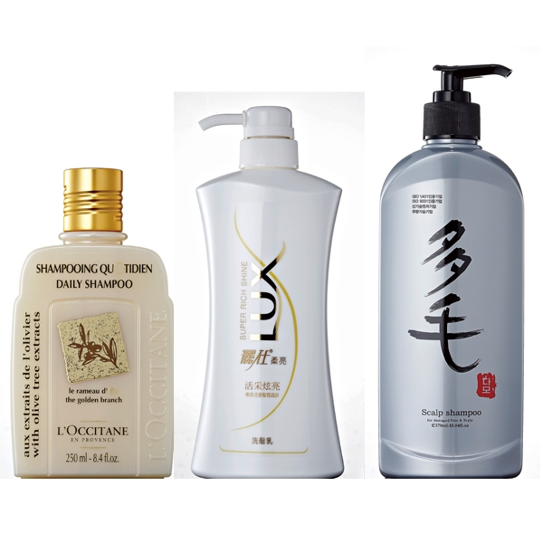 (由左至右)L'OCCITANE 橄欖洗髮乳250ml。C.LUX活采炫亮洗髮乳650ml。D.DAMO 多毛洗髮精370ml。