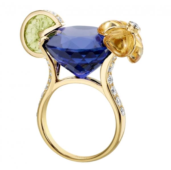 DEEP PURPLE 18K 黃金指環,鑲嵌39顆圓形美鑽、1顆經雕琢的黃色晶石、1顆經雕琢的橄欖石,NT$ 1,989,000