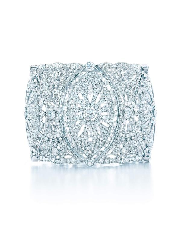 Tiffany蕾絲鑽石鉑金手環