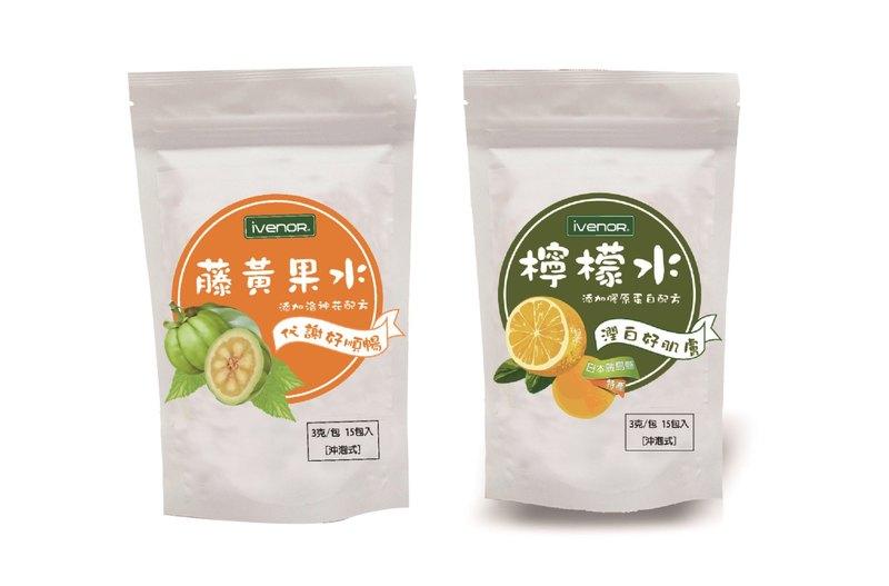 IVENOR 檸檬水,15包,259元。              藤黃果水15包,259元。
