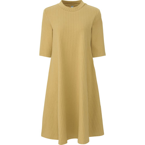 Uniqlo女裝5分袖羅紋棉質寬襬洋裝,790元。
