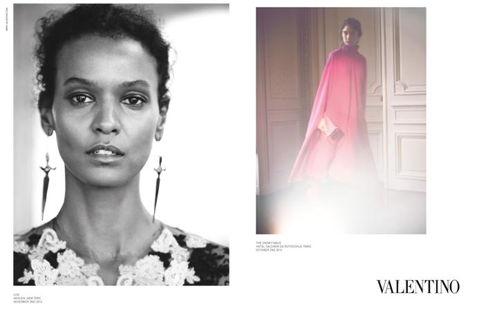 超模Liya Kebede演繹Valentino 2017年春夏最新女裝廣告形象。