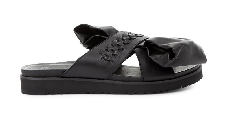 Ugg x Preen 聯名系列Raven Bow 黑色平底涼鞋,11,500元。