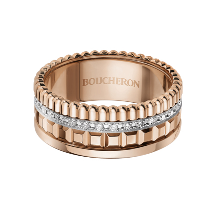 Quatre Radiant系列,玫瑰金鑲嵌鑽石窄版戒指,227,000元。