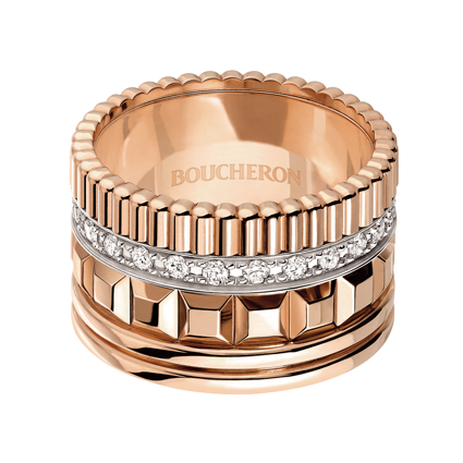 Quatre Radiant系列,玫瑰金鑲嵌鑽石寬版戒指,338,000元。